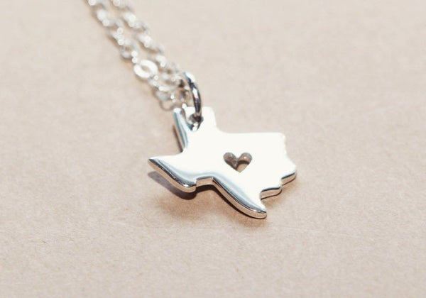 Sterling Silver I heart Texas Necklace