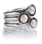 Three Pearl on Three Bands Ring Pink Pearl