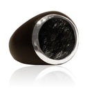 Mexican Art Deco Ebony Cocktail Ring Black Rutile Quartz 8