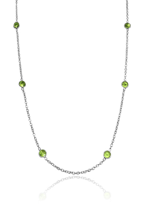 Tiny Kathak 8 Stone Necklace Peridot