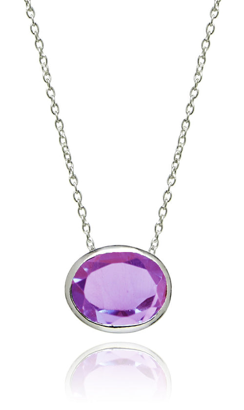 Floating Oval Pietra Necklace Amethyst