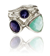 Twisted Twig Cocktail Ring Aqua Chalcedony and Iolite