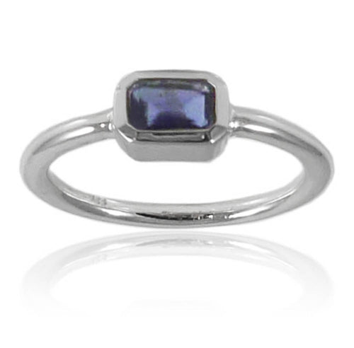 Iceland Rectangle Stacking Ring Iolite