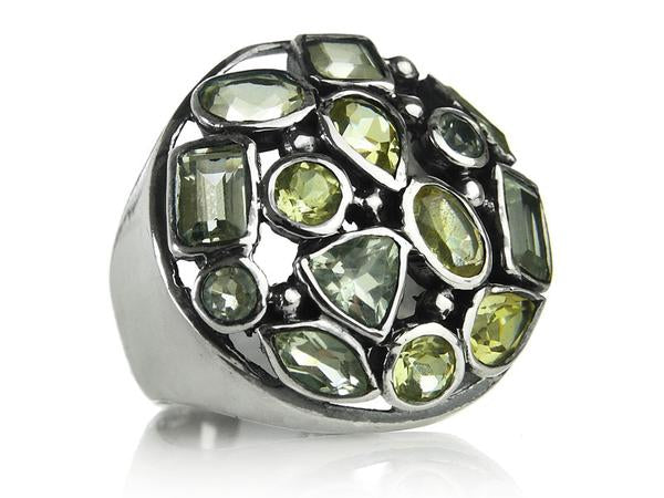 Gaudi Mosaic Cocktail Ring Green Amethyst and Lemon Topaz