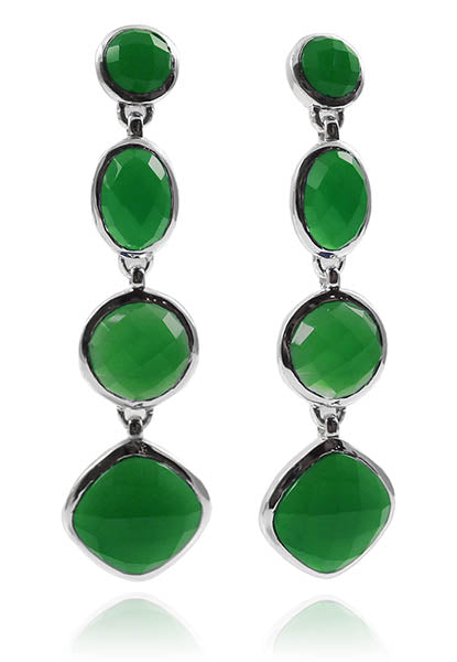 Four Geometric Drop Earring Green Onyx