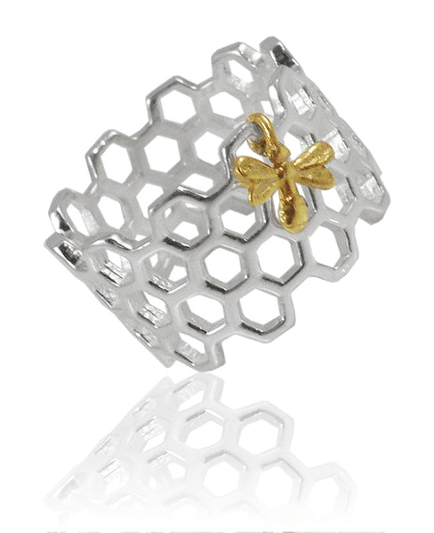 Honeycomb Ring with Golden Bee