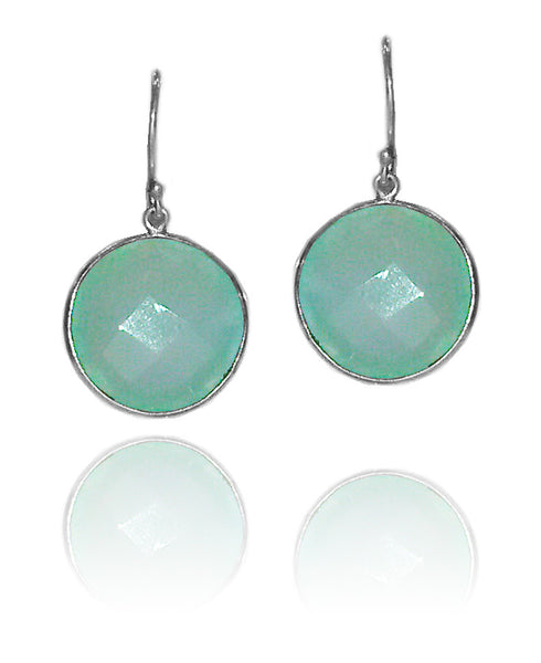 Large Capri Circle Earrings Aqua Chalcedony