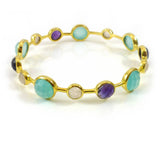 Gold Plated Art Deco Pop Bangle Aqua Chalcedony, Amethyst, Rose Quartz