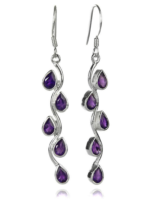 Vertical Stone Leaf Drop Earrings Amethyst