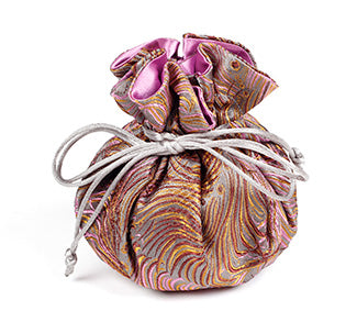 Jewelry Pouch Grey, Brown, Pink Peacock