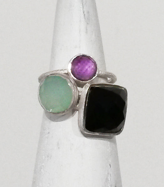 Capri Large Stackable Square Ring Green Amethyst