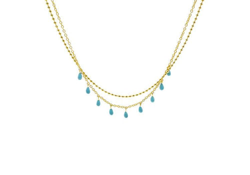 Turquoise Drops Layered Necklace