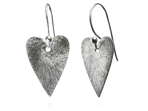 Brushed Heart Earrings