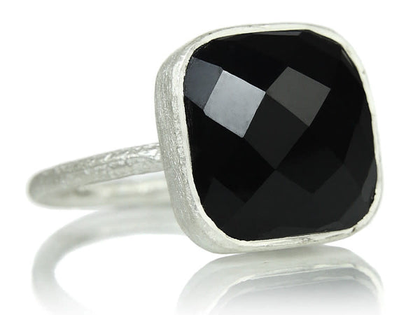 Capri Large Stackable Square Ring Black Onyx