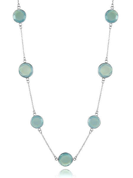 Faceted 17 Stone Capri Long Necklace Aqua Chalcedony