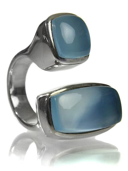 Two Stone Non-Connect Ring Blue Chalcedony Cabochon