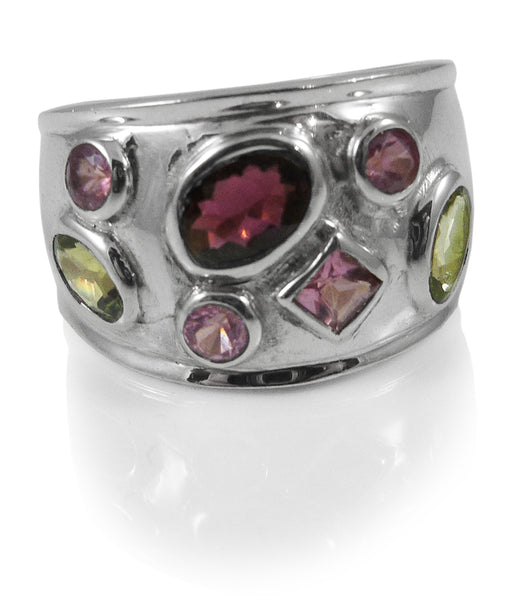 7 Stone Domed Band Ring Mixed Tourmaline Size 9