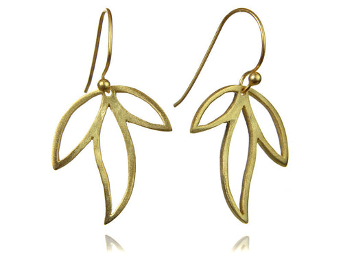 18K Vermeil Three Leaf Amazon Earrings