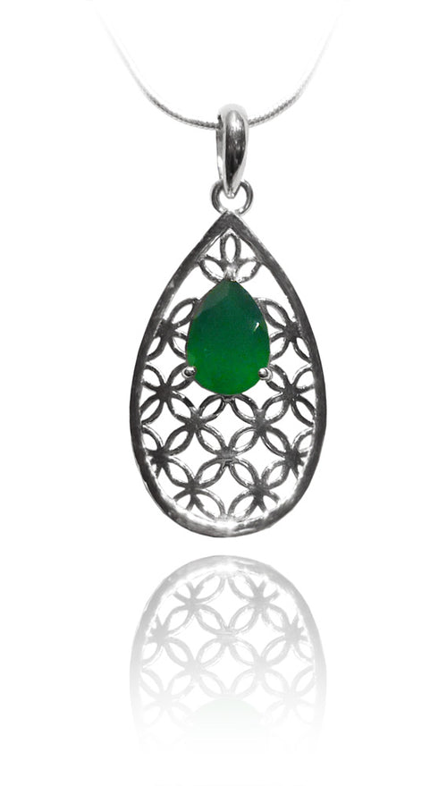 Flower of Life Teardrop Pendant with Green Onyx