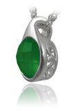 Modern Side Arabesque Cutout Stone Pendant Green Onyx