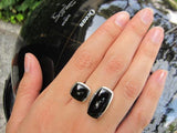 Two Stone Non-Connect Ring Black Onyx Cabochon