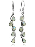 Vertical Stone Leaf Drop Earrings White Moonstone
