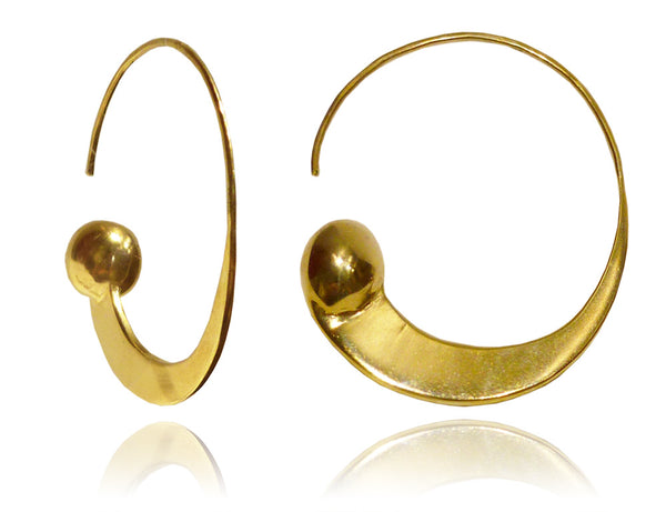 18K Vermeil Swirly Earrings with Gold Ball