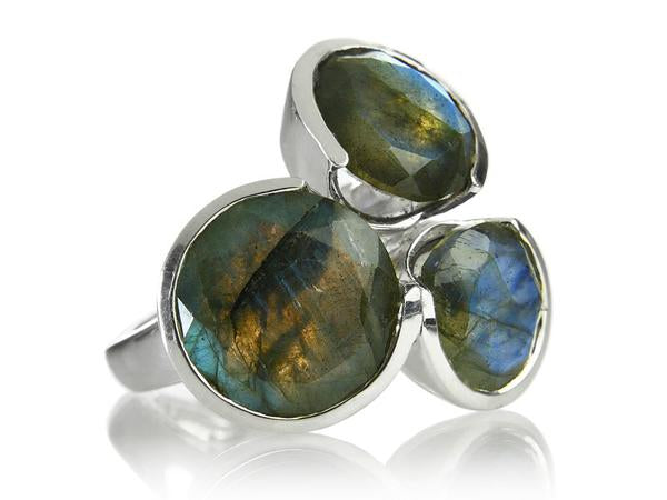 Three Circle Cluster Cocktail Ring Labradorite