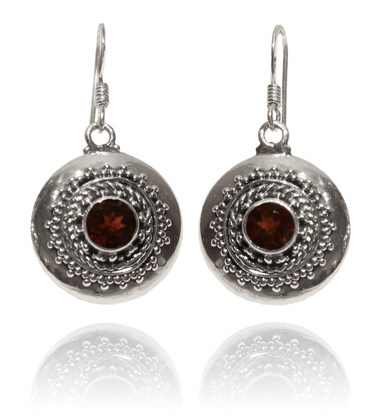 Bali Circle with Stone Earrings - Garnet