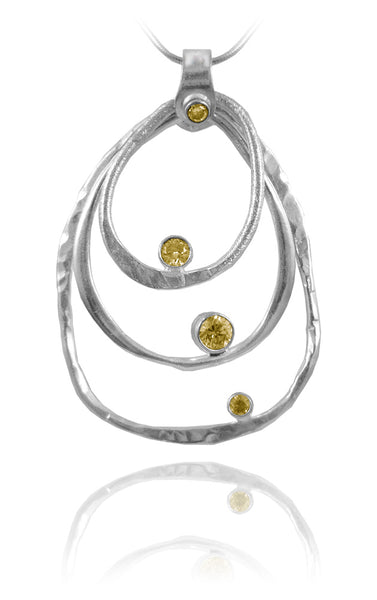 Amazon Concentric Circle Stone Pendant Citrine