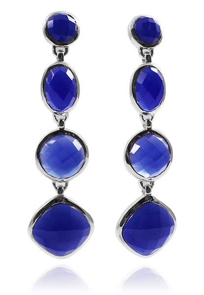 Four Geometric Drop Earring Blue Chalcedony