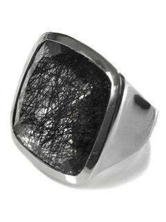 Large Capri Flat Square Cocktail Ring Black Rutile Quartz