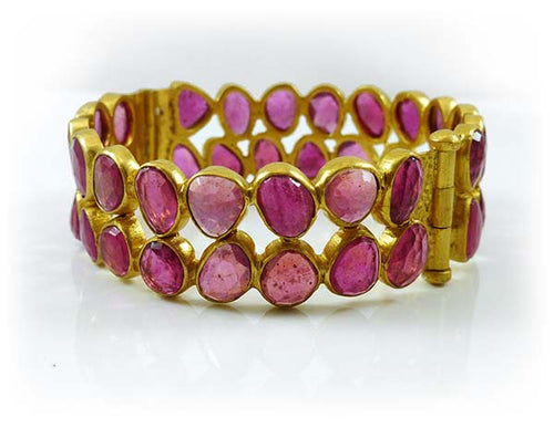 Rough Cut Ruby Double Bangle