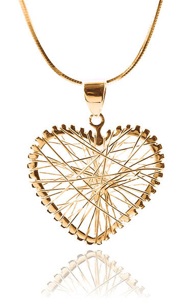 18K Gold Plated Small Criss Cross Heart Pendant