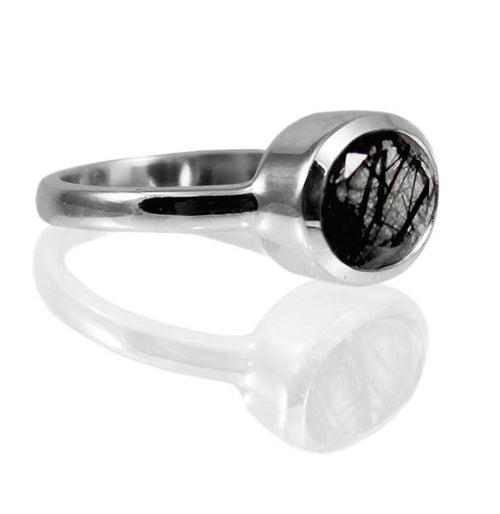 Oval Stackable Jaipuri Circle Ring Black Rutile Quartz