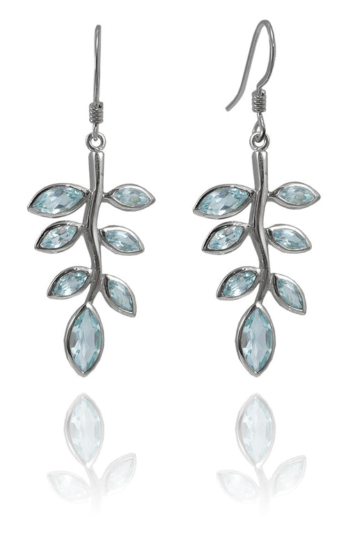 Jaipuri Stone Leaf Drop Earrings Blue Topaz