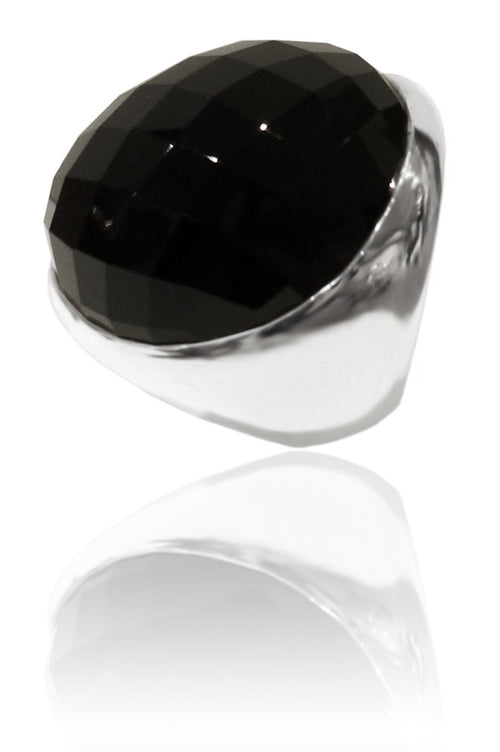 Classic Capri Circle Stone Cocktail Ring Black Onyx 7.5