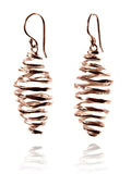 Rose Gold Plated Battered Honey Comb Earrings