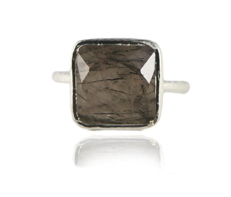 Flower Cocktail Ring Smokey Quartz and Citrine