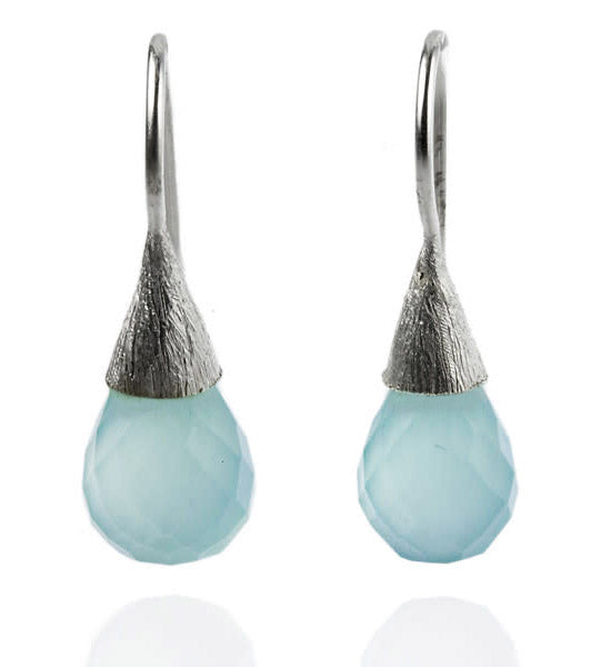 Small Quartz with Brushed Top Earrings Aqua Chalcedony