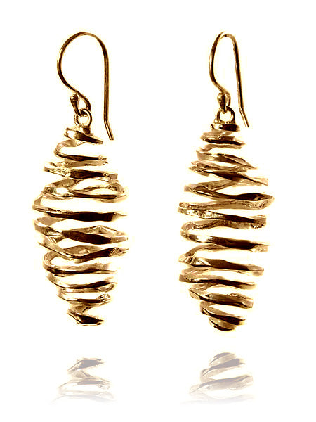 18K Gold Plated Battered Honey Comb Earrings