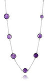 Faceted 17 Stone Capri Long Necklace Amethyst
