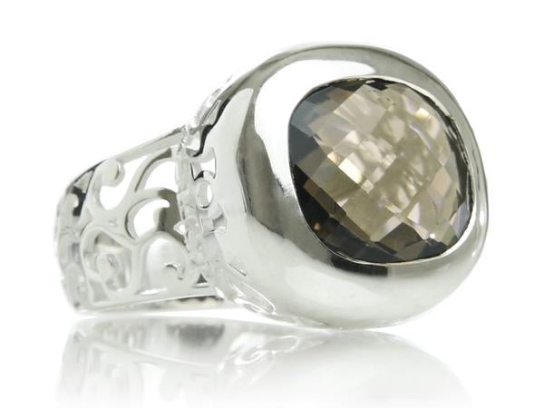 Arabesque Square Filigree Cocktail Ring Smokey Quartz