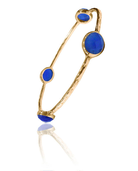 Gold Plated Four Oval Jaipuri Stone Bangle Blue Chalcedony