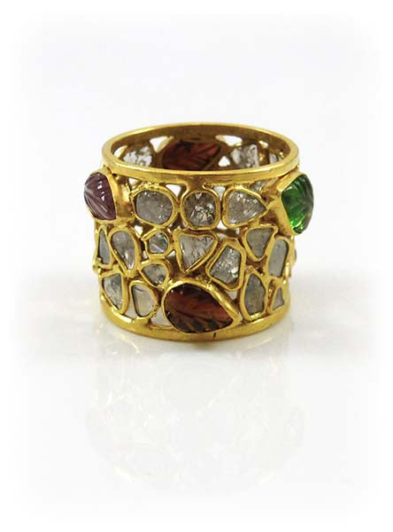 Framed Carved Leaf River Ring Tourmaline Rough Diamond