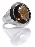 Large Faceted Circle Cocktail Ring Smokey Quartz
