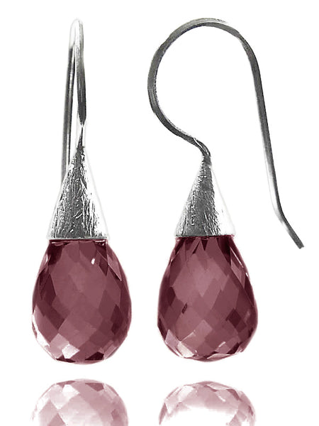 Small Quartz with Brushed Top Earrings Pink Zircon