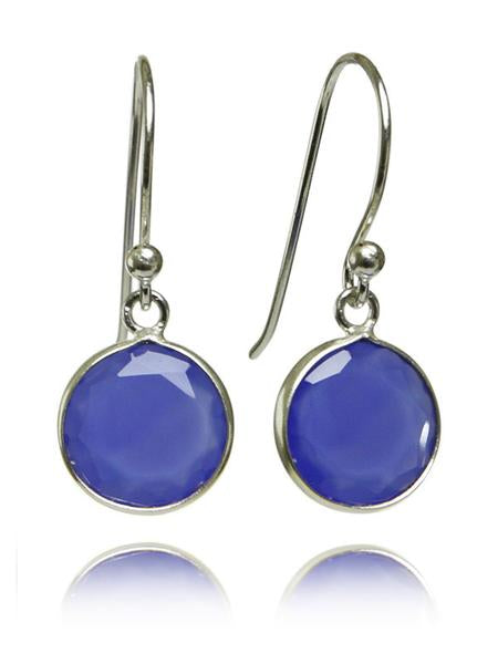 Hanging Puntino Earrings Blue Chalcedony