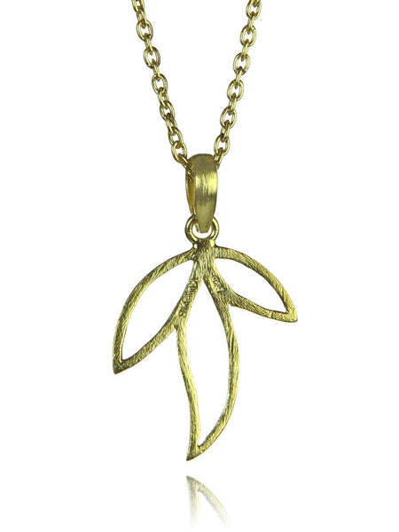 18K Gold Plated Three Leaf Amazon Pendant with Chain