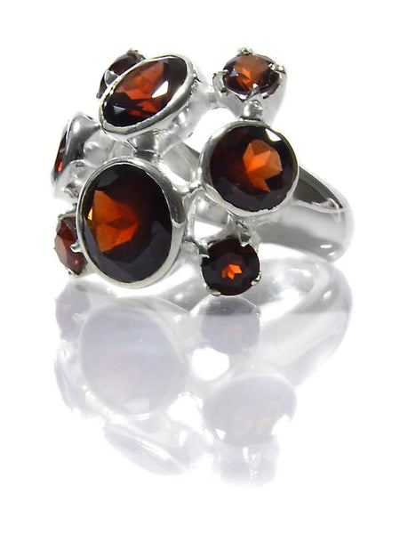 Eight Stone Free Style Bubble Ring Garnet